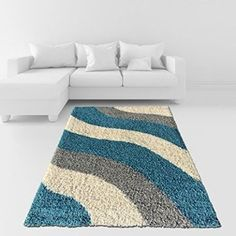 Soft Shag Area Rug Geometric Striped Turquoise Grey Shaggy Rug - Contemporary Area Rugs for Living Room Bedroom Kitchen Decorative Modern Shaggy Rugs ~ Area Rugs ~ Olivia Decor - decor for your home and office. Contemporary Area Rugs, Modern Rugs, Diy Carpet, Rugs On Carpet, Carpets, Stair Carpet, Living Room Bedroom, Rugs In Living Room, Pom Pom Rug