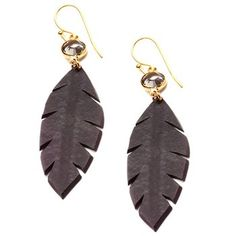 Rubber Leaf Earrings. Glamorous and durable, these Eco-friendly earrings pair gold with rubber sourced from a recycled bike tire inner tube. Wear them to glam up a pair of dark denim or to toughen up an evening dress. $38.00