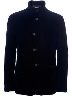 Black velvet jacket from Giorgio Armani $1547    http://www.farfetch.com/shopping/men/giorgio-armani-velvet-jacket-item-10258675.aspx