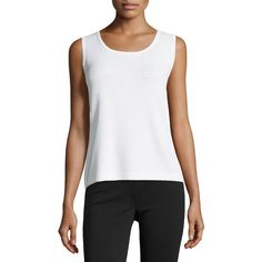 St. John Contour Scoop-Neck Tank ($228) ❤ liked on Polyvore featuring tops, scoopneck tank, sleeveless tops, white singlet, white top and st. john