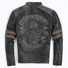 Find More Leather & Suede Information about FREE SHIPPING 2017 Men Retro Vintage Leather Biker Jacket Embroidery Skull Pattern Black Slim Fit Men Winter Motorcycle Coat,High Quality coat fabric,China motorcycle american Suppliers, Cheap motorcycle shop from Friends's Leather Jacket on Aliexpress.com