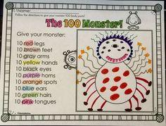 Your students will LOVE creating their own 100 Monster on the day of school. 100th Day Of School Crafts, 100 Day Of School Project, School Fun, 100 Days Of School Centers, School Projects, School Ideas, Kindergarten Activities, Classroom Activities, Preschool