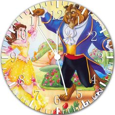 Disney Beauty and the Beast Wall Clock 10' Will Be Nice Gift and Room Wall Decor W391 ** Click image for more details. (This is an affiliate link and I receive a commission for the sales)