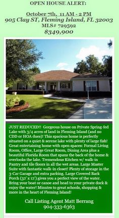 OPEN HOUSE ALERT: 905 CLAY ST. OCT 7th, 11AM-2 PM. Just Reduced!! Brought to you by INI Realty Investments, Inc, the first 100% Commission Real Estate Office in Jacksonville, FL. www.100RealEstateJax.com
