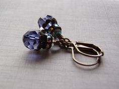 Tanzanite Earrings 8 mm Crystal Rhinestone Accents Antique Brass Lever Back