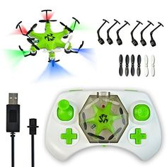 Mokasi® 6 Propellers Mini Pocket Drone, 2.4Ghz 4CH 6-Axis Gyro RC Micro Quadcopter with 3D Flip, Headless Mode,Nano Copters RTF Mode 2 Green >>> Check this awesome product by going to the link at the image.