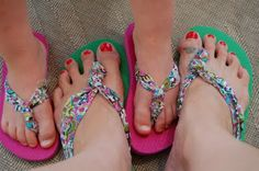 Fabric Flip Flops  What an inexpensive craft. Love it!!!