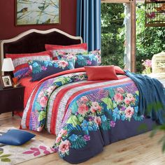 Charcoal Orange Green and Peacock Blue Tropical Flower Exotic Rustic Style Southwestern Style Brushed Cotton Full, Queen Size Bedding Sets