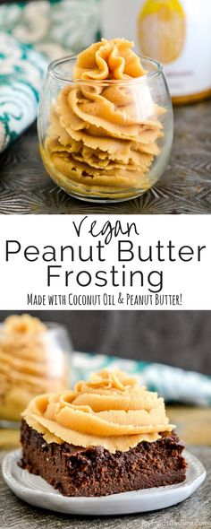 Super easy, crazy delicious vegan peanut butter frosting. In this recipe, coconut oil and peanut butter join forces to make the most incredible dairy-free frosting ever! Serve it on top of brownies, use it to frost a cake, or eat it with a spoon! Vegan, gluten-free, dairy-free w/refined sugar free option!