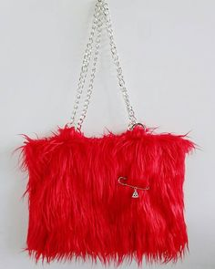 Faux fur bag, bolso pelo, red bag, bolso rojo de FisionGirl en Etsy