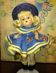 VOGUE Ginny 1953 Strung Brunette Doll  Tagged School Outfit   #Ginny #Vogue