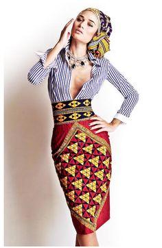 Stella Jean S/S 2012, stripes with high waist batik.