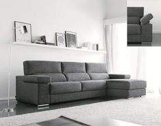 Sofá en tela gris oscuro con apoyabrazos movible Living Area, Living Room, Sofa Design, Decoration, Green And Grey, Modern Furniture, Sweet Home, Room Decor, Couch