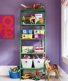 Make clean up easy on your kids by labeling storage bins with photos so they know what should be stashed inside.