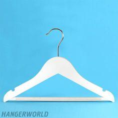 Children's White Wooden Bar Hangers - 30cm