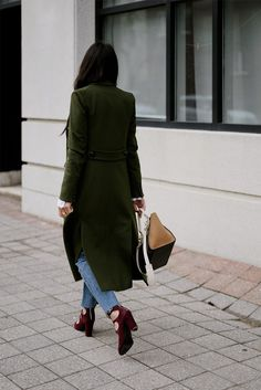 bc502fcbd1 veronica beard green winter voyager faux double breasted coat levis kick  flare celine bag fashion blogger