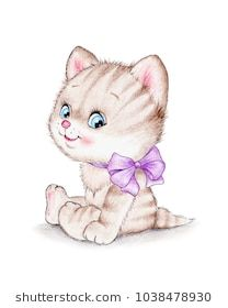 Cute kitten with purple bow