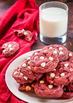 Red velvet cake in cookie form (from scratch!)—that's what you've got here with these Red Velvet Cookies! Cream cheese and white chocolate chips lend tanginess and sweetness to every bite. Red Velvet Cookies, Velvet Cake, White Chocolate Chips, Chocolate Cookies, Chocolate Meringue, Cookie Recipes, Dessert Recipes, Desserts, Raw Cookie Dough