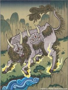 The hakutaku, like many other holy beasts, comes from Chinese legends. In China, it is known as the bai ze.