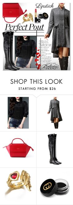 """""""Delicious"""" by jecakns ❤ liked on Polyvore featuring Aquazzura, Gucci, Chanel, WALL, outfit, coat, REDLIP and falltrend"""