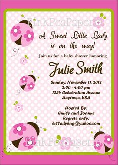 PINK LADYBUG Baby Shower Invitation  Pink and by PinkPeaPaperie, $8.00