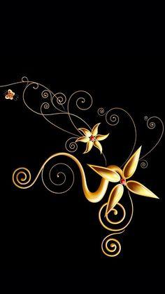 Gold Wallpaper Designs, Gold Wallpaper Pattern, Modern Floral Wallpaper, Gold Wallpaper Background, Print Wallpaper, Wallpaper Iphone Cute, Flower Wallpaper, Wallpaper Backgrounds, Colorful Backgrounds