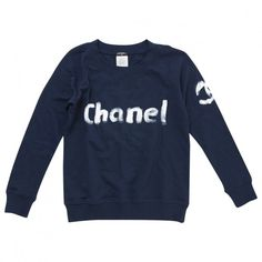 SWEAT-SHIRT CHANEL (780 SAR) ❤ liked on Polyvore featuring tops, hoodies, sweatshirts, chanel tops, blue sweatshirt, chanel, cotton sweatshirt and chanel sweatshirt