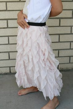 vertical ruffle skirt with a black elastic waistband