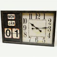 Wandklok hout met kalender Afmeting: 54 x 85 cm Te bestellen voor €149,-  http://www.gaaf.nu/product/wandklok-hout-met-kalender/
