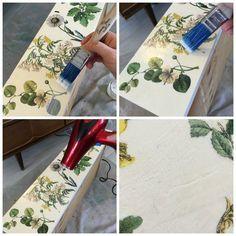 floral inspirado cômoda de transferência de imagem, decoupage, como, mobiliário pintado decoupaged