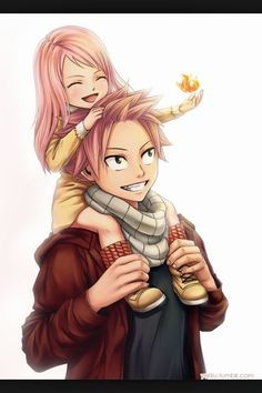 This is so cute. Natsu with his and Lucy's little girl Fairy Tail. Natsu would make such a perfect father. Natsu Fairy Tail, Fairy Tail Lucy, Fairy Tail Ships, Fairy Tail Fotos, Art Fairy Tail, Fairy Tail Amour, Anime Fairy Tail, Fairy Tail Guild, Fairy Tales