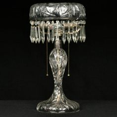 """American brilliant cut glass 19"""" table lamp, floral and butterfly pattern base. Unusual divided rib shade with pinwheels, 10"""" diameter, with prisms."""