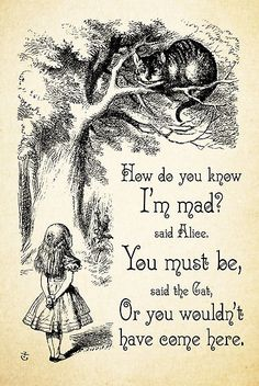 """""""Alice in Wonderland Quote - How Do You Know I'm Mad - Cheshire Cat Quote - Posters by ContrastStudios Cheshire Cat Quotes, The Cheshire, Alice And Wonderland Quotes, Adventures In Wonderland, Wonderland Party, Kindle Cover, Im Mad, Cat Posters, Frases"""