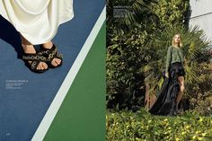 (Left) Model wears Burberry Prorsum large chain sneakers sandals (Right) Suvi models Roberto Cavalli perforated suede top and silk taffeta high-low mini-ball skirt
