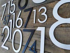 12'' Modern House Numbers Brushed Aluminum Stud | Etsy