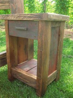 Reclaimed Barn Wood Nightstand, by Log Craft