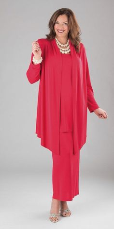 Q'Neel red silky jersey jacket, vest and skirt 50 Fashion, Muslim Fashion, Plus Size Fashion, Fashion Dresses, Womens Fashion, Sleeves Designs For Dresses, Mom Dress, Evening Outfits, Mom Outfits