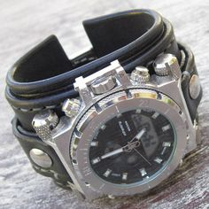Náramky - Infantry čierne kožené hodinky - 5967439_