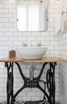 16 stylish bathroom vanities that you are not convinced are . - 16 stylish bathroom vanities that you& not convinced you& DIY surprising … - Vintage Bathroom Sinks, Diy Bathroom Vanity, Bathroom Furniture, Small Bathroom, Bathroom Table, Vanity Sink, Industrial Bathroom Sinks, Master Bathroom, Bird Bathroom