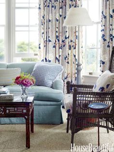 """A blue thread connects every room,"" says Scheerer, who deftly wove that color through a mix of tones and textures in this Watch Hill, Rhode Island, house."