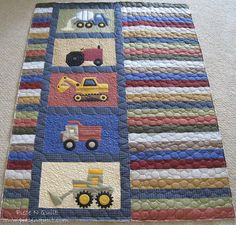 This is an adorable little boy quilt, but I also love the layout as well. You could applique the truck blocks with almost anything to suit the person who would be getting the quilt. Also the layout makes it easy to resize.