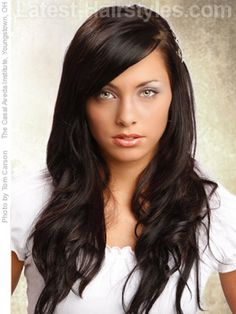 Long hair with sideswept bangs