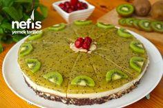 Meyveli Muhallebili Mozaik Pasta Turkish Recipes, Ethnic Recipes, Dessert Recipes, Desserts, Kiwi, Guacamole, Camembert Cheese, Cheesecake, Pudding