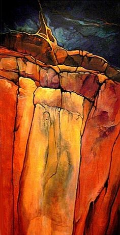 Grand Canyon 3, 06508, acrylic geologic abstract by Carol Nelson Acrylic ~ 48 x 24