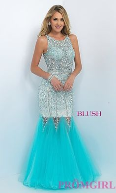 Long High Neck Open Back Mermaid Style Prom Dress by Blush at PromGirl.com