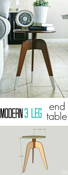 Make this modern end table from ONE 1 x 8 board! I love 3 dipped legs.