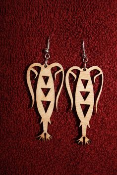 Wood Earrings - Laser Cut - Copepod - Plankton