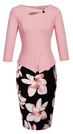 HOMEYEE Women's Elegant Chic Bodycon Formal Dress B288 (XL, A-Light Pink)