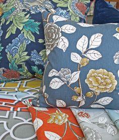 Coming soon! Stellar @DwellStudio fabrics by the yard. Have a peek. #peonies #dragon #trellis #geometric #orange #blue #gold #yellow #mustard #persimmon #grey