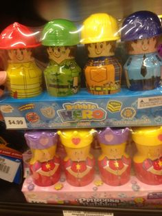 gendered bubbles?? And the girls get all princesses that look the same Boys?  police, army...